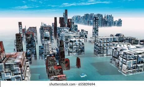 Alien City - fantasy urban structures 3d render