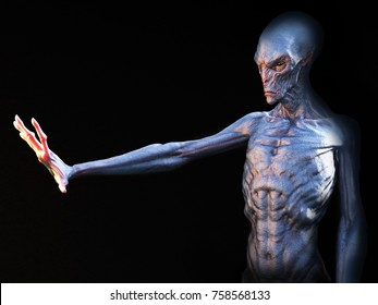 Alien creature holding its hand up in front of it, 3D rendering. Black background.