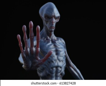 Alien creature holding its hand up like it's stopping you or greeting. 3D rendering. Black background.
