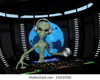 Alien DJ - An alien DJ wearing wireless headphones holding a CD. Turntables and mixers.  Holograph shows the alien approaching the Earth.