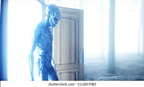 Alien in fog night forest. Light portal door. UFO concept. 3d rendering.