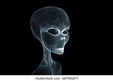 Alien in Hologram Wireframe Style. Nice 3D Rendering