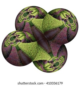 alien labyrinth formed of agglomerated spheres of Many Dimensions surreal scene