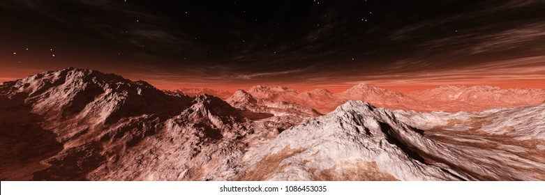 alien landscape, an alien, a panorama of Mars, a Martian surface, 3D rendering
