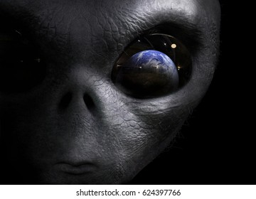 alien looking at the earth; 3d illustration