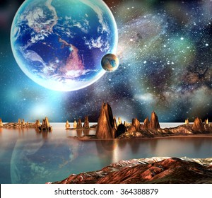 Alien Planet With Earth Moon And Mountains. Elements of this image furnished by NASA
