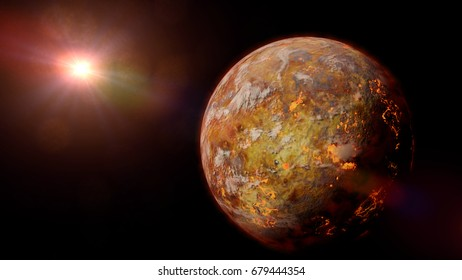 alien planet with lava streams lit by a bright and hot star (3d illustration)
