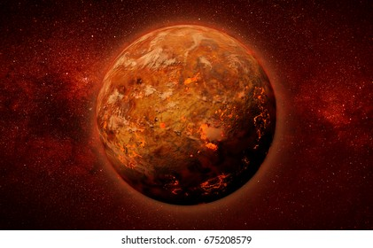 alien planet with lava streams in a star field (3d illustration)