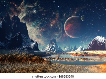 Alien Planet With A Moon And Mountains