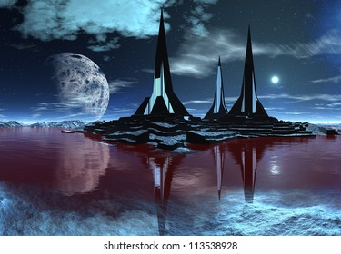 Alien Planet with a Moon and Towers