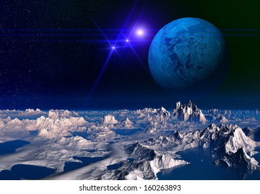 Alien Planet with Mountains and Desert - 3D Rendered Computer Artwork
