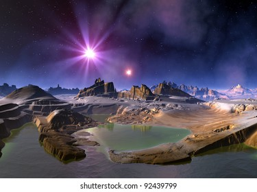 Alien Planet and Stars, fantasy planet somewhere in the universe
