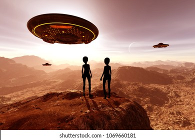 An alien planet,3d illustration Science fiction concept background
