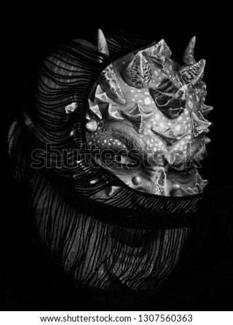 Alien Shouting Dragon Skin Grey Beard Stock Photo Edit Now
