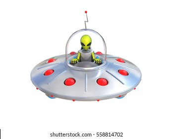 Alien spaceship, flying saucer 3d illustration