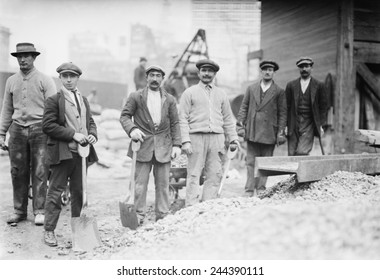 Alien Subway workers with shovels dressed in their street clothing, as they begin work constructing the New York City Subway. Ca. 1910.