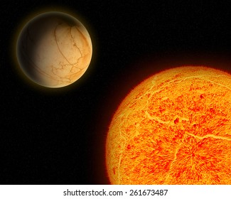 Alien sun and planet.