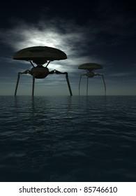 Alien tripods in a dark moonlit ocean