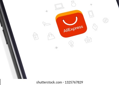 Aliexpress logo on the display smartphone. Aliexpress is an online retail service. Moscow, Russia - February 28, 2019