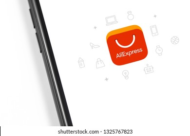 Aliexpress logo on the screen smartphone. Aliexpress is an online retail service. Moscow, Russia - February 28, 2019