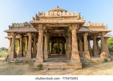 Alif Khan Masjid, a 500 years old Islamic architecure with domes and intricate carvings at Dholka, Gujarat, India