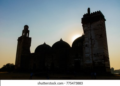 Alif Khan Masjid, Gujarat, India, a 500 year old muslim architecture,captured in silhouettes.