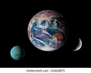 Aligned planets Earth moon space background. Elements of this image furnished by NASA.