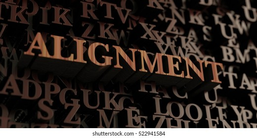 Alignment - Wooden 3D rendered letters/message.  Can be used for an online banner ad or a print postcard.