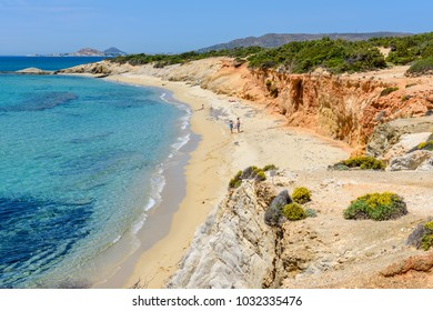 Aliko beach, one of the best beaches on the south western side of Naxos island. Aliko is lovely place to relax away from the crowded resorts. Cyclades, Greece.