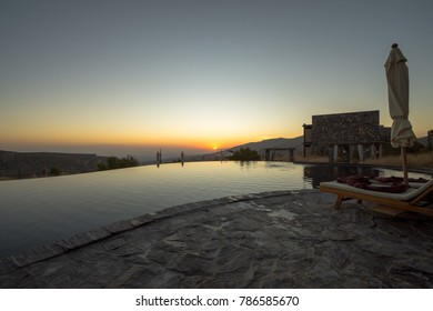 Alila Omani Mountains at Jabal Akhdar in Al Hajar Mountains, Oman at sunset. This place is 2000 meters above sea level on NOVEMBER 20, 2017 in Jabal Akhdar, Country.