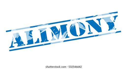 alimony blue stamp on white background