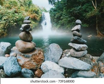 Aling rocks in aling aling waterfall. Tropical rain forest in Bali Indonesia