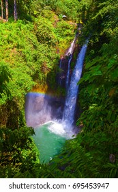Aling Aling waterfall with rainbow, Bali, Indonesia