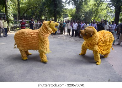 Alipore Zoo and Dhumketu Puppet Theatre organized a puppet show conveying a massage of animal on the occasion of Foundation Day of the Zoological Garden on September 25, 2015 in Calcutta, India.