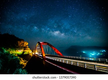 """Alishan, Chiayi, Taiwan, this bridge is a good place to shoot the Milky Way. The Chinese character on the bridge is the name of the bridge: """"Fu Gu Er Bridge"""""""
