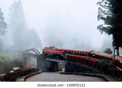 Alishan Forest Railway's red Hitachi Japanese passenger train from the pre World War II era roaming through the foggy forests of Alishan in Taiwan.