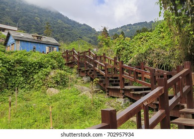 """Alishan, MAR 17: The famous Jimmy blue wooden house at Fenqihu area, Taiwan. It's a movie scenario of the film """"The Starry Starry Night"""" on MAR 17, 2012 at Alishan,  Taiwan."""