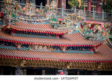Alishan national park ; Taiwan,  July 20th , 2019 :The Alishan Shouzhen temple is beautiful temple in Alishan national park in Taiwan