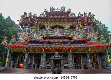 Alishan national park ; Taiwan-October 14,2018:The Alishan Shouzhen temple is beautiful temple in Alishan national park in Taiwan