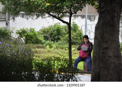 ALISHAN NATIONAL SCENIC AREA, TAIWAN - OCTOBER 1,2018: The traveller at the Alishan national scenic with green natural forest viewing, Chiayi