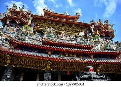 ALISHAN NATIONAL SCENIC AREA, TAIWAN - OCTOBER 1,2018: Alishan Shouzhen Temple, The Chinese style of temple in the forest area , Chiayi