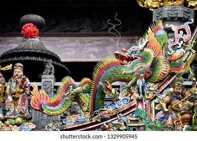 ALISHAN NATIONAL SCENIC AREA, TAIWAN - OCTOBER 1,2018: The chinese style of art decoration at Alishan Shouzhen Temple in the forest area , Chiayi