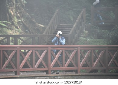 ALISHAN NATIONAL SCENIC AREA, TAIWAN - OCTOBER 1,2018: The traveller on the bridge at the Alishan national scenic with green natural forest viewing, Chiayi
