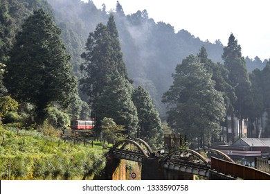 ALISHAN NATIONAL SCENIC AREA, TAIWAN - OCTOBER 1,2018: The famous old historical type of train in the train station at Alishan national scenic, Chiayi