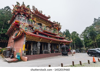 ALISHAN, TAIWAN. DEC 28, 2017: Alishan Shouzhen Temple: the largest temple in Alishan with tourists in Chiayi County, Alishan Township, Taiwan.