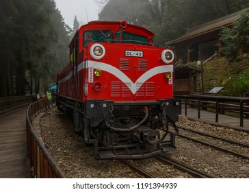 Alishan, Taiwan - December 27 2015: Alishan Forest Railway.