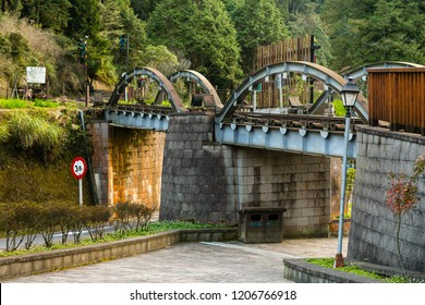 Alishan, Taiwan - December 27 2015: Railway bridge of Alishan Forest Railway.