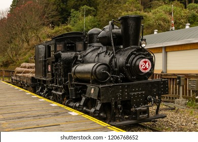 Alishan, Taiwan - December 27 2015: Steam locomotive No. 24 of Alishan Forest Railway at Jhaoping Station