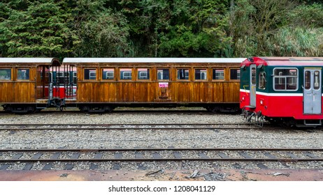 Alishan, Taiwan - December 27 2015: Rolling stock of Alishan Forest Railway.