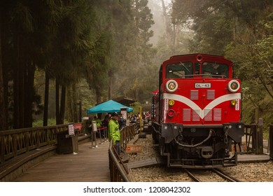 Alishan, Taiwan - December 27 2015: Locomotive of Alishan Forest Railway at Shenmu Station (Sacred Tree Station).